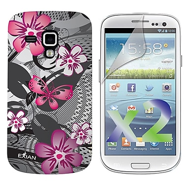 Exian Case for Galaxy Ace 2X, Floral Pattern Pink & Grey