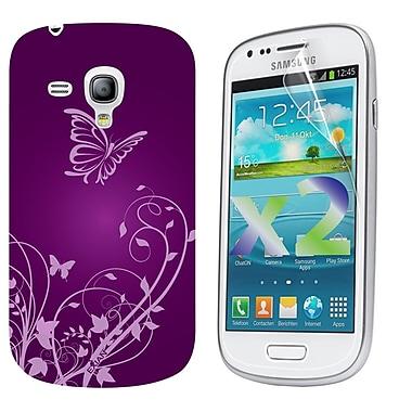 Exian Case for Galaxy S3 Mini, Flowers & Butterflies Purple