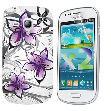Exian Case for Galaxy S3 Mini, Floral Pattern Purple & White