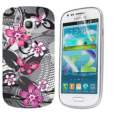 Exian Case for Galaxy S3 Mini, Floral Pattern Black & Pink