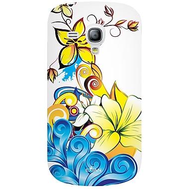 Exian – Étui blanc et bleu à motifs floraux jaunes pour Galaxy S3 Mini