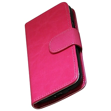 Exian Case for Galaxy S4 Mini, Leather Wallet Hot Pink