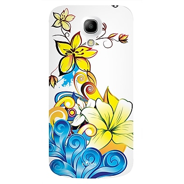 Exian Case for Galaxy S4 Mini, Floral Pattern Yellow Blue White