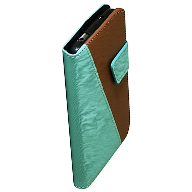 Exian Case for Galaxy S4, Leather Wallet Green & Brown