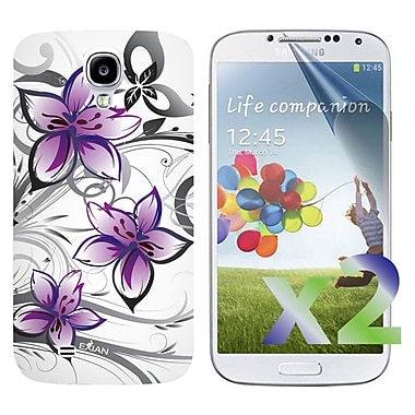 Exian Case for Galaxy S4, Floral Pattern Purple & White