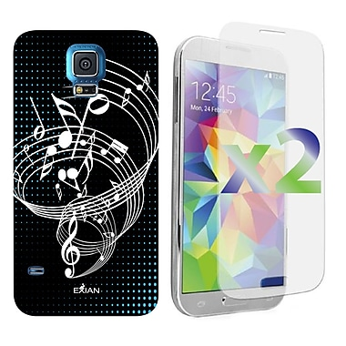 Exian Case for Galaxy S5, Musical Notes White Black