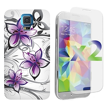 Exian Case for Galaxy S5, Floral Pattern White & Purple