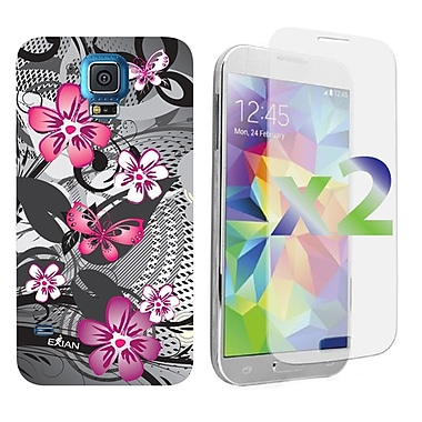 Exian Case for Galaxy S5, Floral Pattern Black & Pink