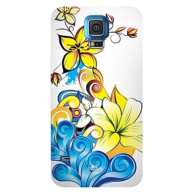 Exian Case for Galaxy S5, Floral Pattern Yellow Blue White