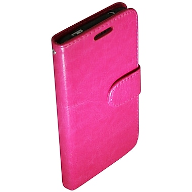 Exian Case for Galaxy S5, Leather Wallet Hot Pink
