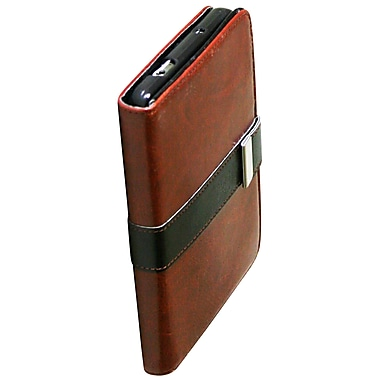 Exian Case for Galaxy Note 3, Leather Wallet Brown with Black buckle