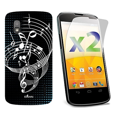 Exian Nexus 4 Screen Guards x2 & TPU Case, Musical Notes on Staff Black