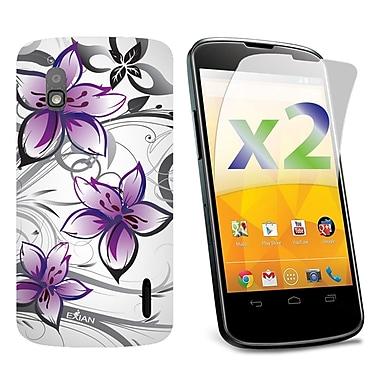 Exian – Deux protecteurs d'écran 2x et étui en TPUR blanc à motifs floraux violets pour Nexus 4