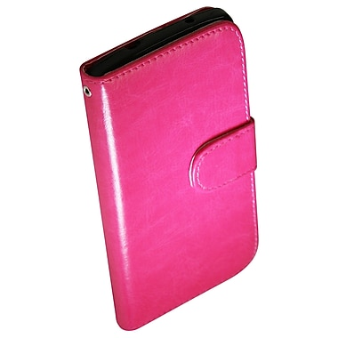 Exian Nexus 5 Leather Wallet Case with Card Slots, Hot Pink