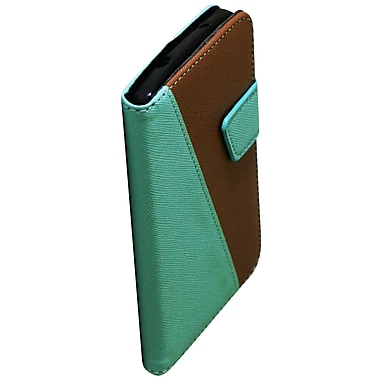 Exian Case for Nexus 5, Leather Wallet Green & Brown