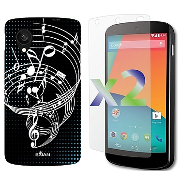 Exian Nexus 5 Screen Guard Protectors x2 & TPU Case, Musical Notes Black