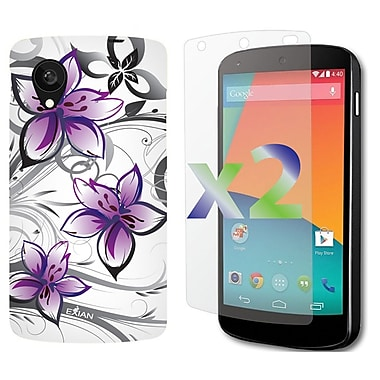 Exian Nexus 5 Screen Guard Protectors x2 & TPU Case, Floral Patter Purple & White