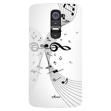 Exian – Étui à motifs de notes de musique en polyuréthane et 2 protecteurs d'écran pour LG G2