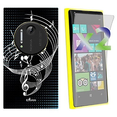 Exian Nokia Lumia 1020 Screen Guards x2 & TPU Case, Musical Notes on Staff Black