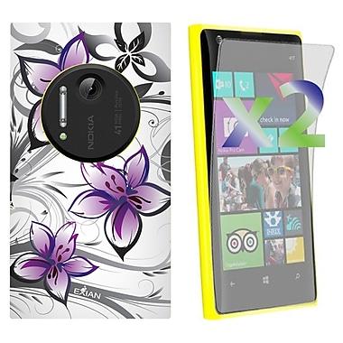 Exian – Étui pour Lumia 1020 à motifs floraux, blanc et violet