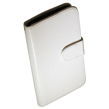 Exian – Étui portefeuille en cuir pour HTC One, blanc