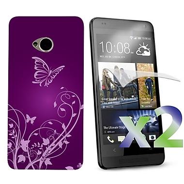 Exian Case for HTC One, Butterflies & Flowers Purple