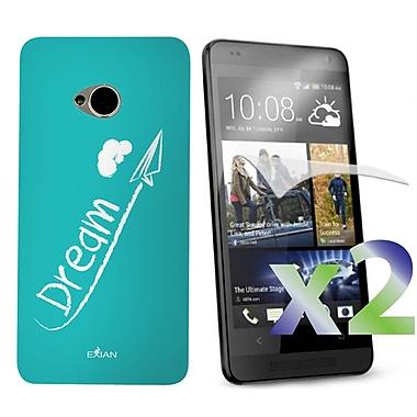 Exian – Étui pour HTC One, « dream » blanc sur fond bleu sarcelle
