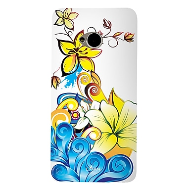 Exian Case for HTC One, Floral Pattern Yellow Blue White