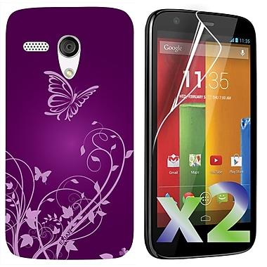 Exian Motorola Moto G Screen Guards x2 & TPU Case, Flowers & Butterfly Purple