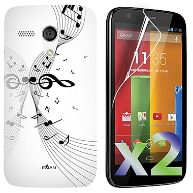 Exian Motorola Moto G Screen Guards x2 & TPU Case, Musical Notes on Staff