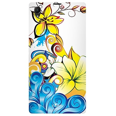 Exian Case for Xperia Z1, Floral Pattern Yellow Blue White