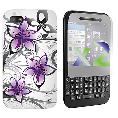 Exian Case for Blackberry Q5, Floral Pattern White & Purple