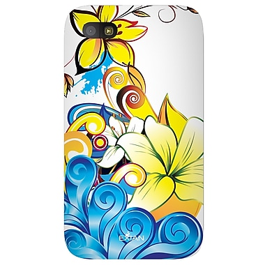 Exian Case for Blackberry Q5, Floral Pattern Yellow Blue White