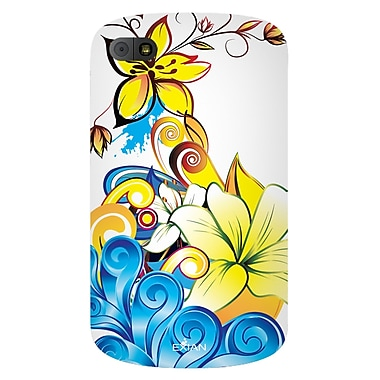 Exian Case for Blackberry Q10, Floral Pattern Yellow/Blue/White