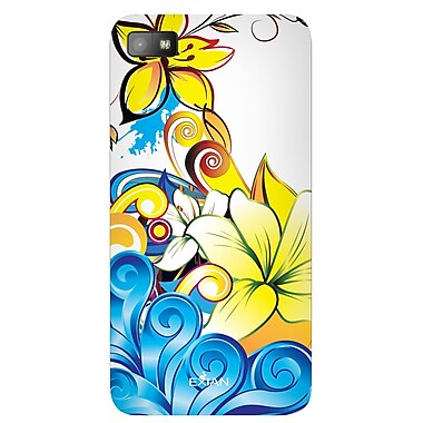 Exian Case for Blackberry Z10, Floral Pattern Yellow/Blue/White