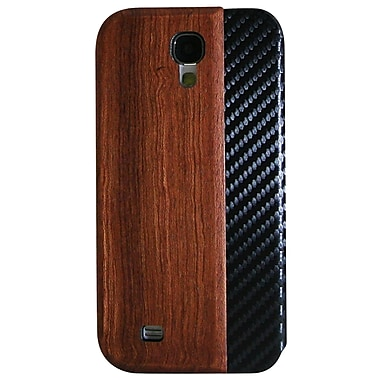 Exian Case for Galaxy S4, Real Wood Wallet with Carbon Fiber Side