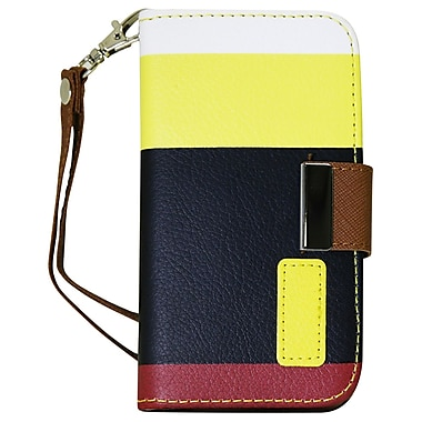 Exian Case for Galaxy S5, Leather Wallet Yellow Black Red