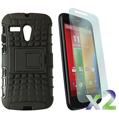 Exian Case for Moto G, Armored with Stand Black