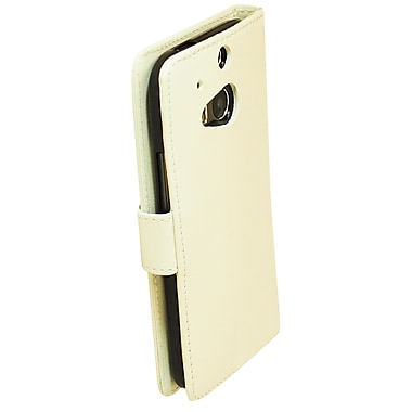 Exian Case for HTC One M8, Leather Wallet White