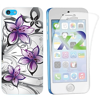 Exian – Étui pour iPhone 5c, motifs floraux blanc et violet