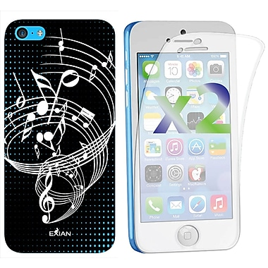 Exian – Étui pour iPhone 5c, notes de musique, noir