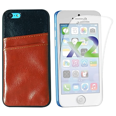 Exian Case for iPhone 5C, Leather with Card Slot Brown