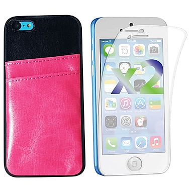 Exian Case for iPhone 5C, Leather with Card Slot Pink