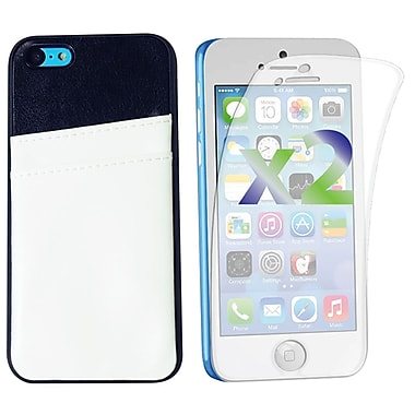 Exian Case for iPhone 5C, Leather with Card Slot White