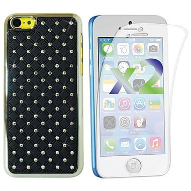 Exian Case for iPhone 5C, Embedded Crystals Black
