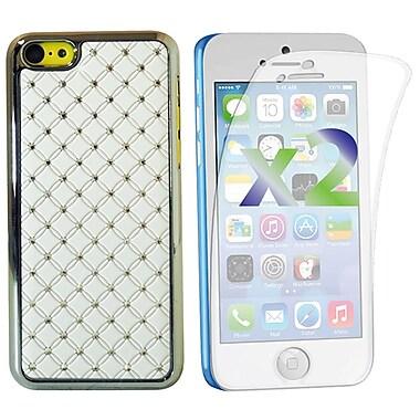 Exian – Étui pour iPhone 5c, cristaux incrustés, blanc