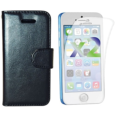 Exian Case for iPhone 5C, Leather Wallet Black