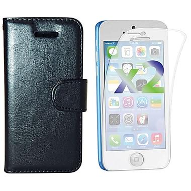 Exian – Étui portefeuille en cuir pour iPhone 5c, noir
