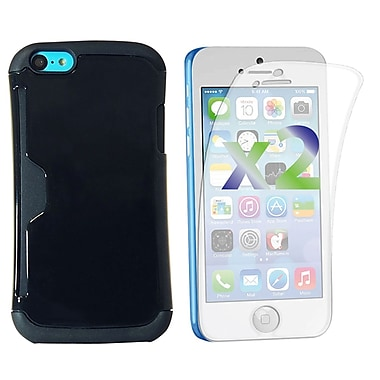 Exian iPhone 5C Screen Guards x2 & Armored Case with Card Slots, Black