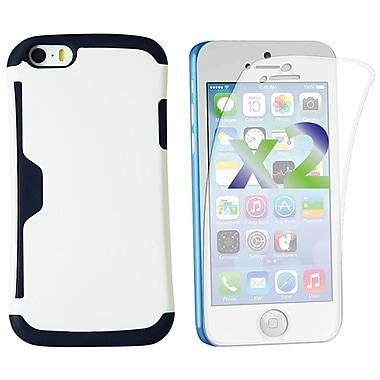 Exian – Deux protecteurs d'écran pour iPhone 5c et étui renforcé avec fentes pour cartes, blanc
